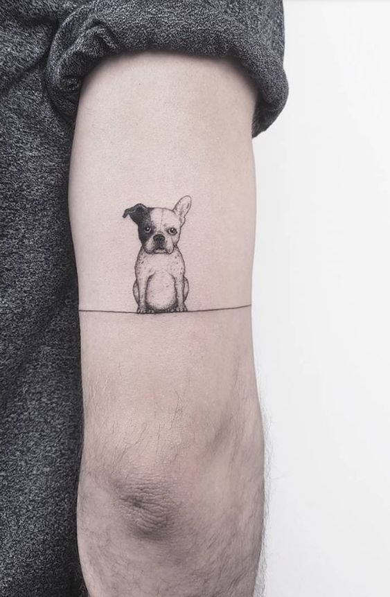 Cute Small Bull Dog Back of Elbow Tattoo Ideas  Cute Small Bull Dog Back of Elbow Tattoo Ideas