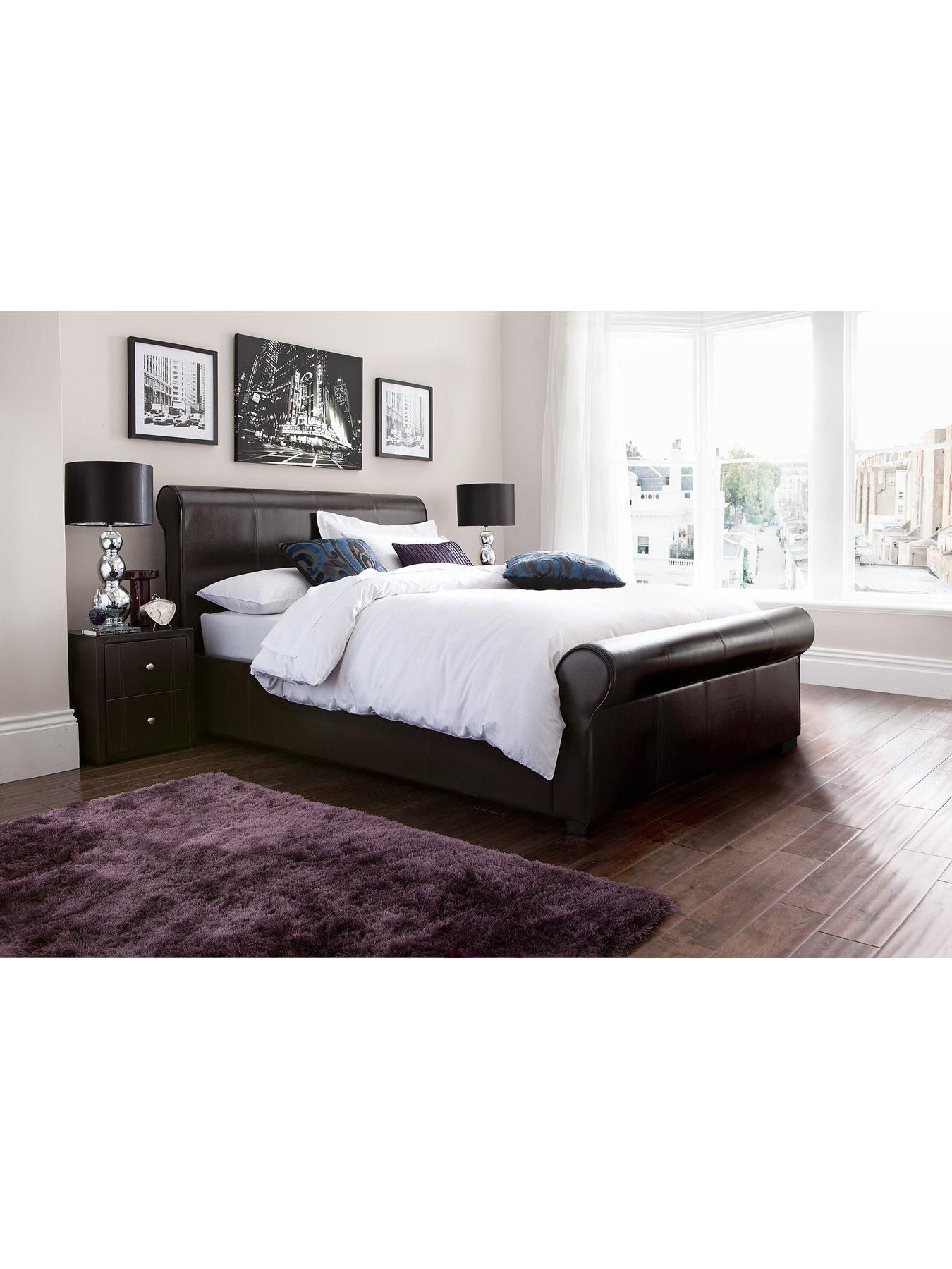 Madrid Storage King Madrid Faux Leather Storage Bed Frame In