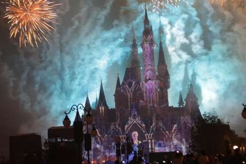 Rain can't stop the fireworks as Shanghai Disneyland opens to public Well-wishes from Chinese and American leadership as the 'Mouse' finally opens house on the mainland.   Fireworks during the night display show. Photo: Simon Song