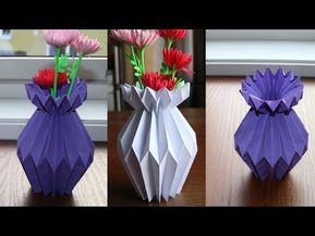 How to make flower vase with paper step by easy