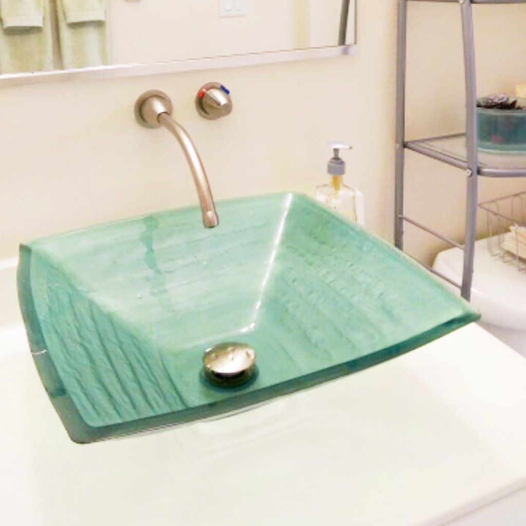 Green Square Tempered Glass Vessel Bathroom Sink Tis 286g In 2020