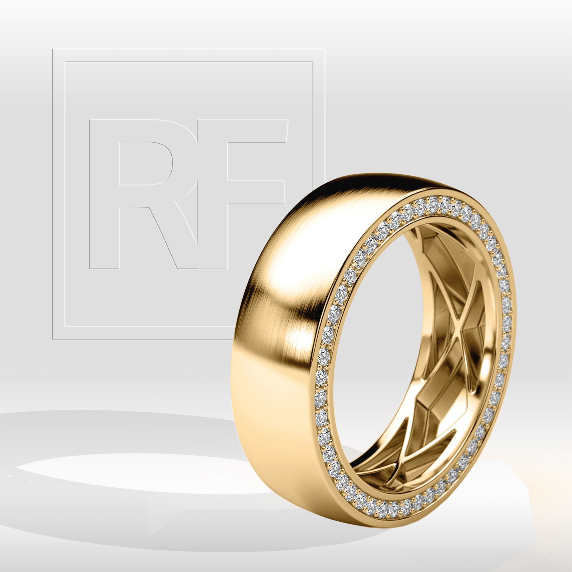 JERRITT Comfort Fit Mens Gold Wedding Band with Diamonds