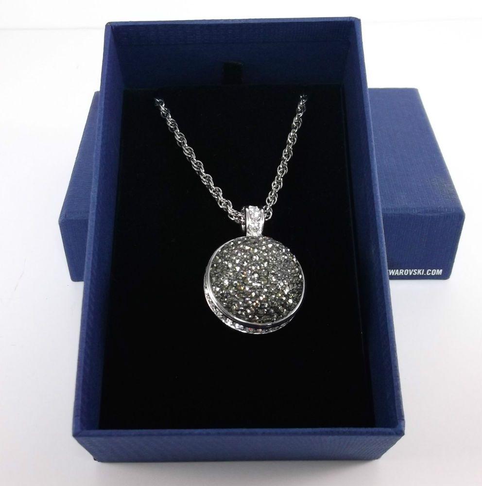 Swarovski Black Rhodium Crystal Ball Pendant Necklace 32