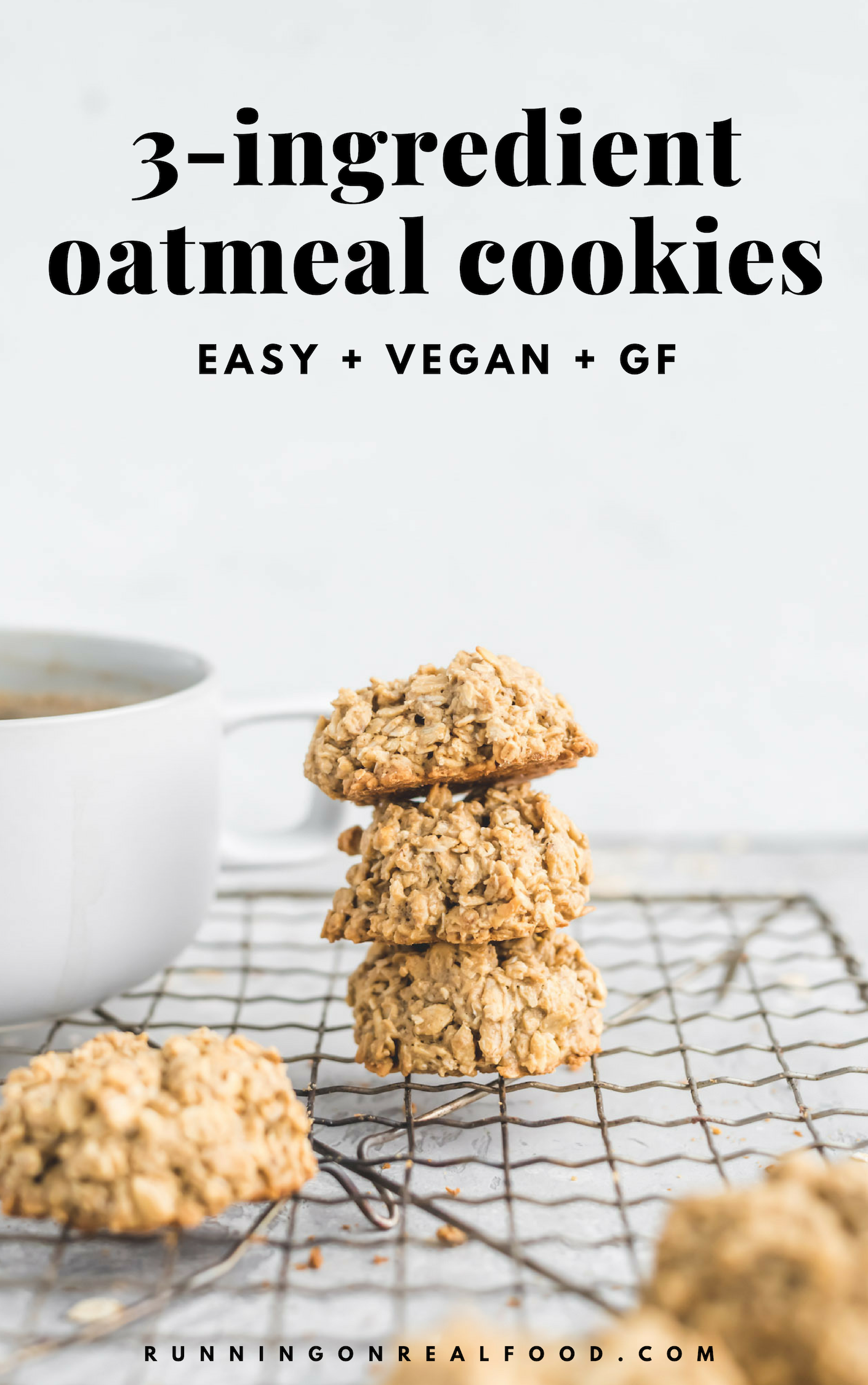 Easy 3 Ingredient Oatmeal Cookies Recipe Easy Vegan Dessert Vegan Oatmeal Cookies Healthy Oatmeal Cookies