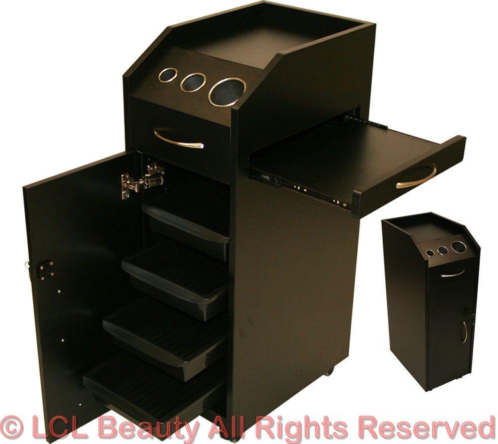 180 ebay black wood locking styling station 4 drawer