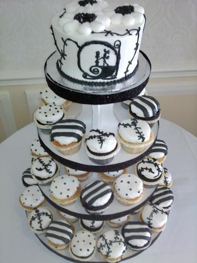Bridal Shower Nightmare Before Christmas Themed Cupcake Tower