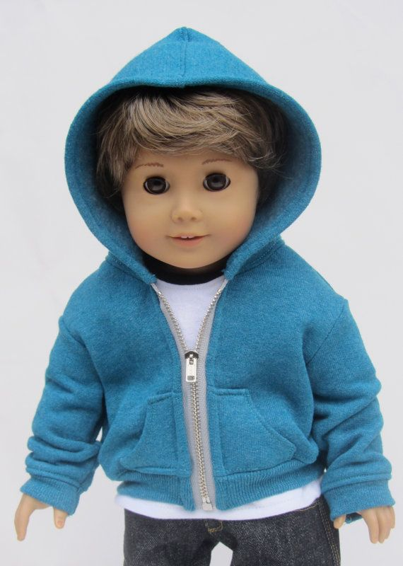 Light Blue Knit Hooded Jacket made for 18 inch American Girl Doll Clothes