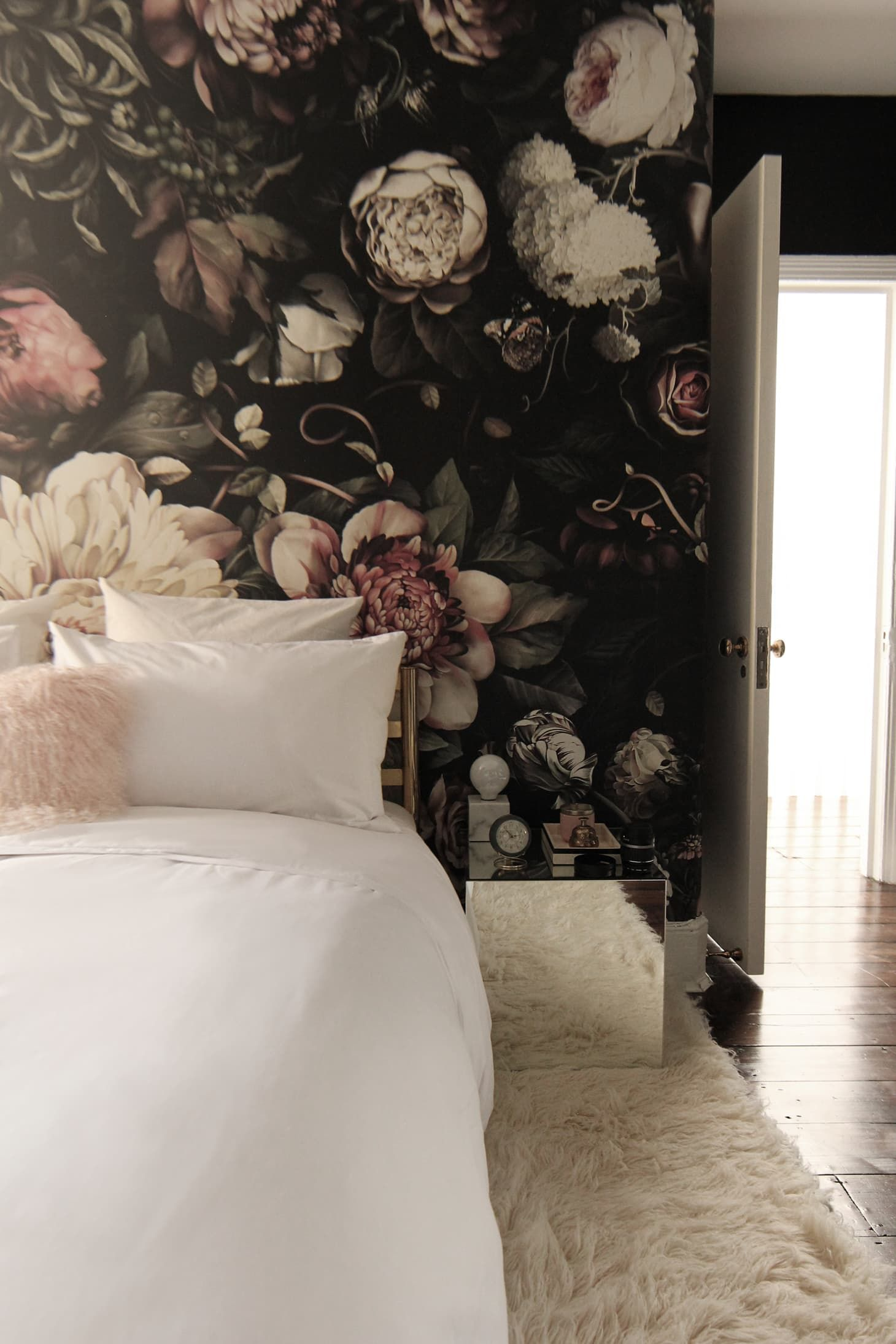 Before After A London Bedroom Gets A Dark Dramatic Floral Makeover In 2020 Bedroom Makeover Wallpaper Design For Bedroom Wallpaper Bedroom Home