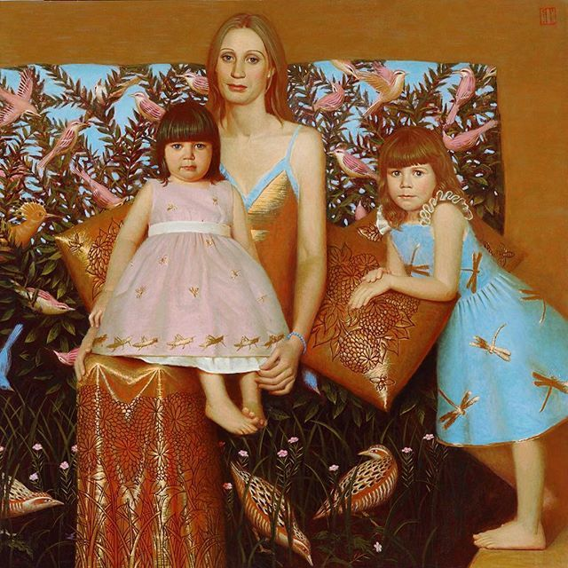 Portrait of mother and children, 2007, 120x130, oil on canvas #andreyremnev #oilpainting #portrait