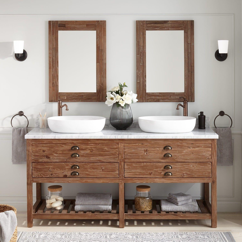 72 Benoist Reclaimed Wood Double Vessel Sink Vanity Pine