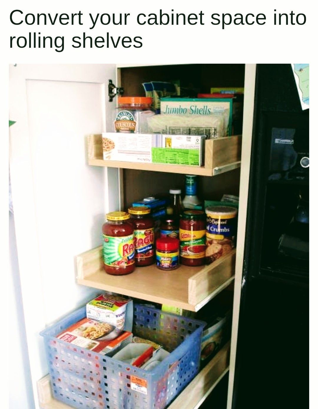 I Like This Idea For A Deep Cupboard To Maximise Storage Space Diy Pull Out Shelves Pull Out Cabinet Drawers Deep Pantry