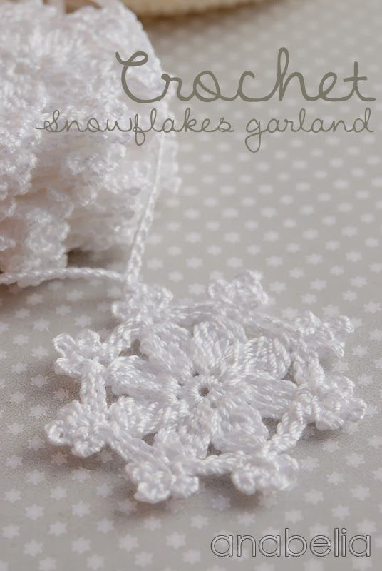 Crochet snowflakes garland by Anabelia | pattern | Pinterest ...