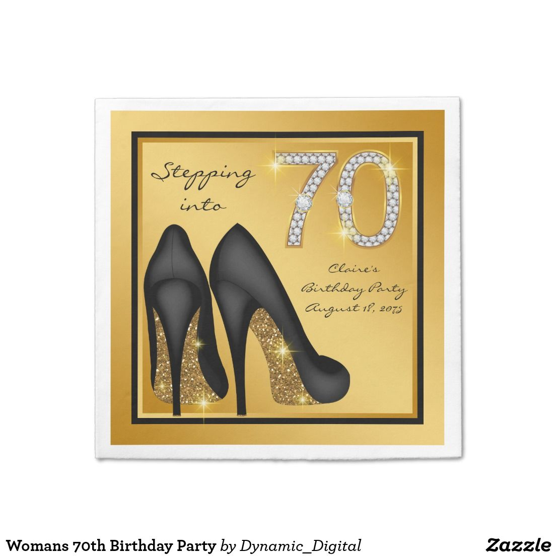 Womans 70th Birthday Party Napkin