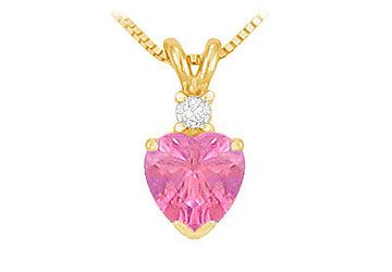 Diamond and Pink Sapphire Solitaire Pendant in 14K White Gold
