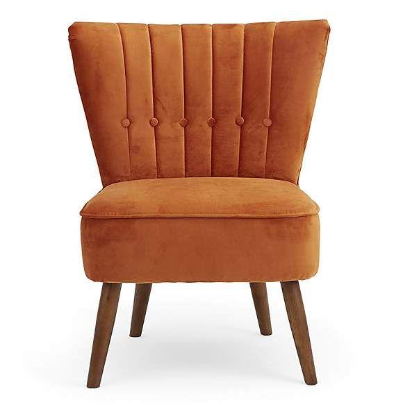 Isla Velvet Cocktail Chair Orange | Dunelm | Velvet