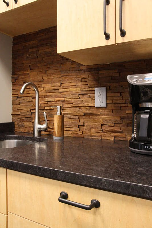 wood backsplash backsplash Pinterest Backsplash, Kitchen and