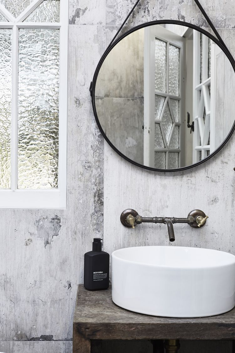 Industrial feel in the bathroom of the barn at The Bower, Byron Bay ...