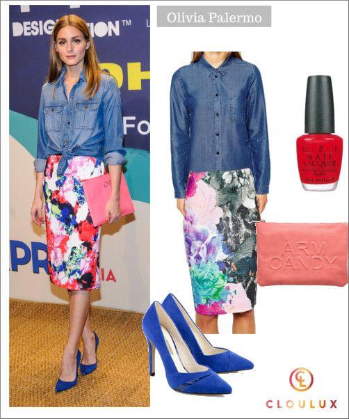 Olivia Palermo mit Blumenprint-Bleistiftrock und Jeanshemd
