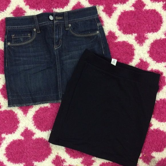 2 skirts new! Fit XS size, girl 10 size 2 skirts new! Fit XS size, girl 10 size ( old navy denim 10 size girl, Forever 21 S size) Forever 21 Skirts Mini
