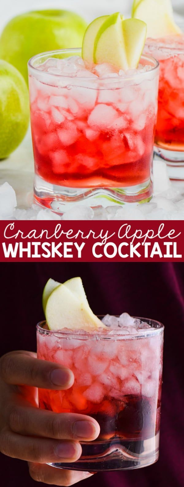 Photo of This super simple cranberry apple whiskey cocktail consists of only two ingredients and is …