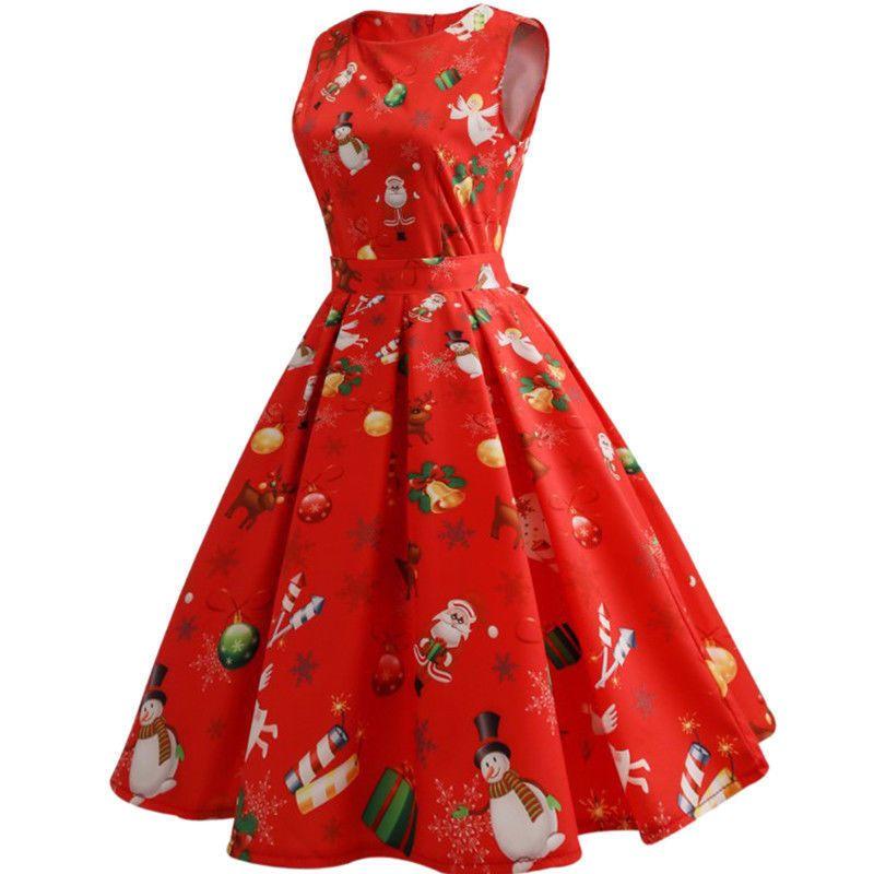 UKUK Womens Vintage Retro Swing Dress Christmas Xmas Party Fancy Dresses Plus Si