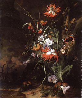 Rachel Ruysch - A 'Forest Floor' Still Life of Flowers