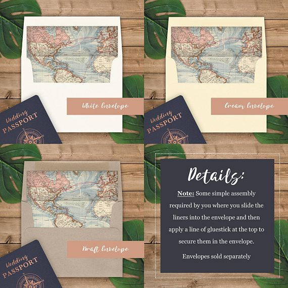 world map envelope liners a2 size square flap rose gold for