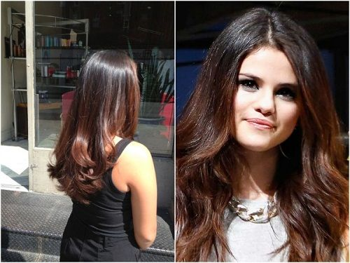 Brunette And Light Brown Ombre Selena Gomez Hair Color Celebrity Hair Colors Selena Gomez Hair