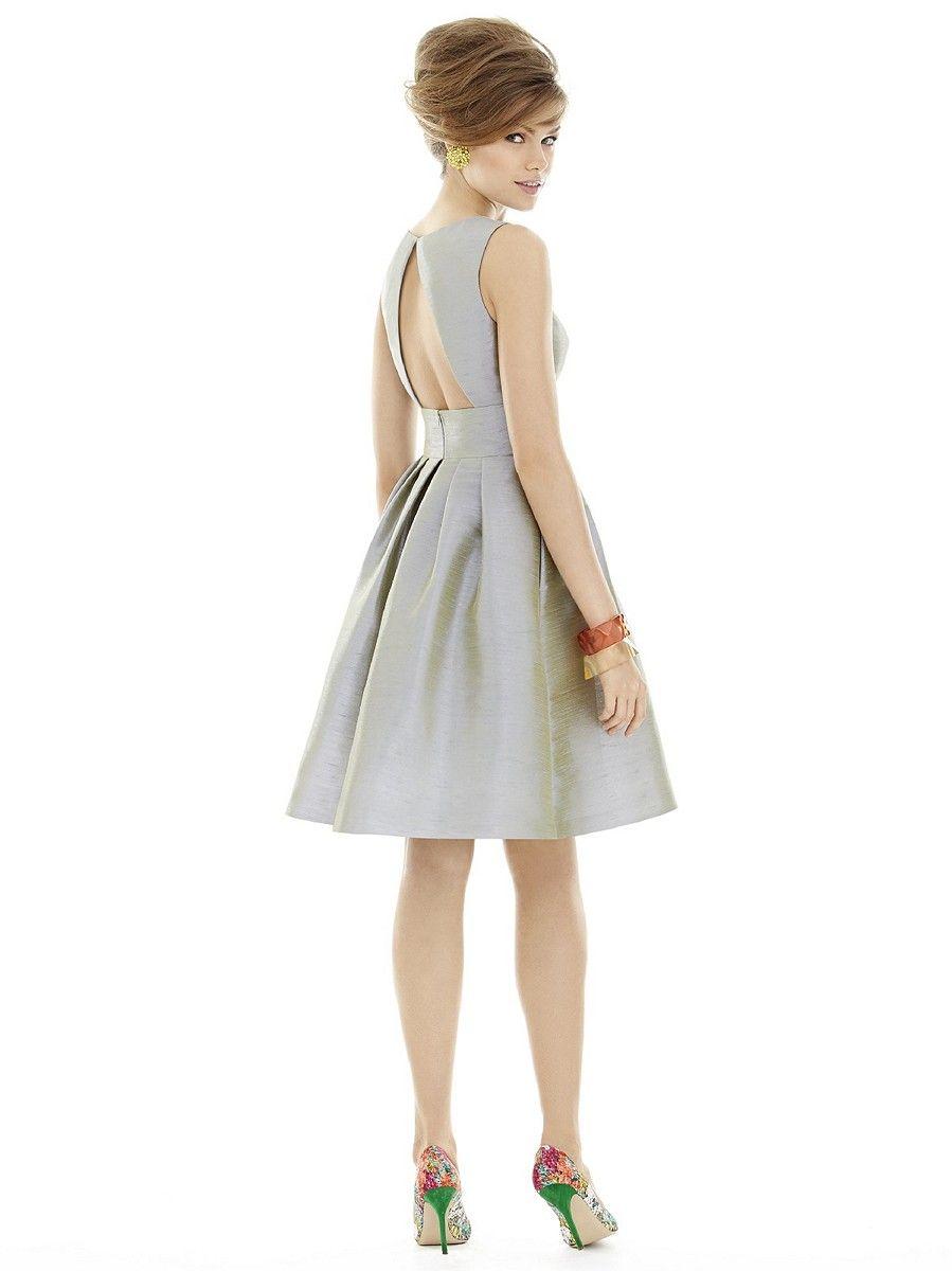 Alfred sung d679 short bridesmaid dress cutout back pleat skirt alfred sung d679 short bridesmaid dress cutout back pleat skirt ombrellifo Choice Image