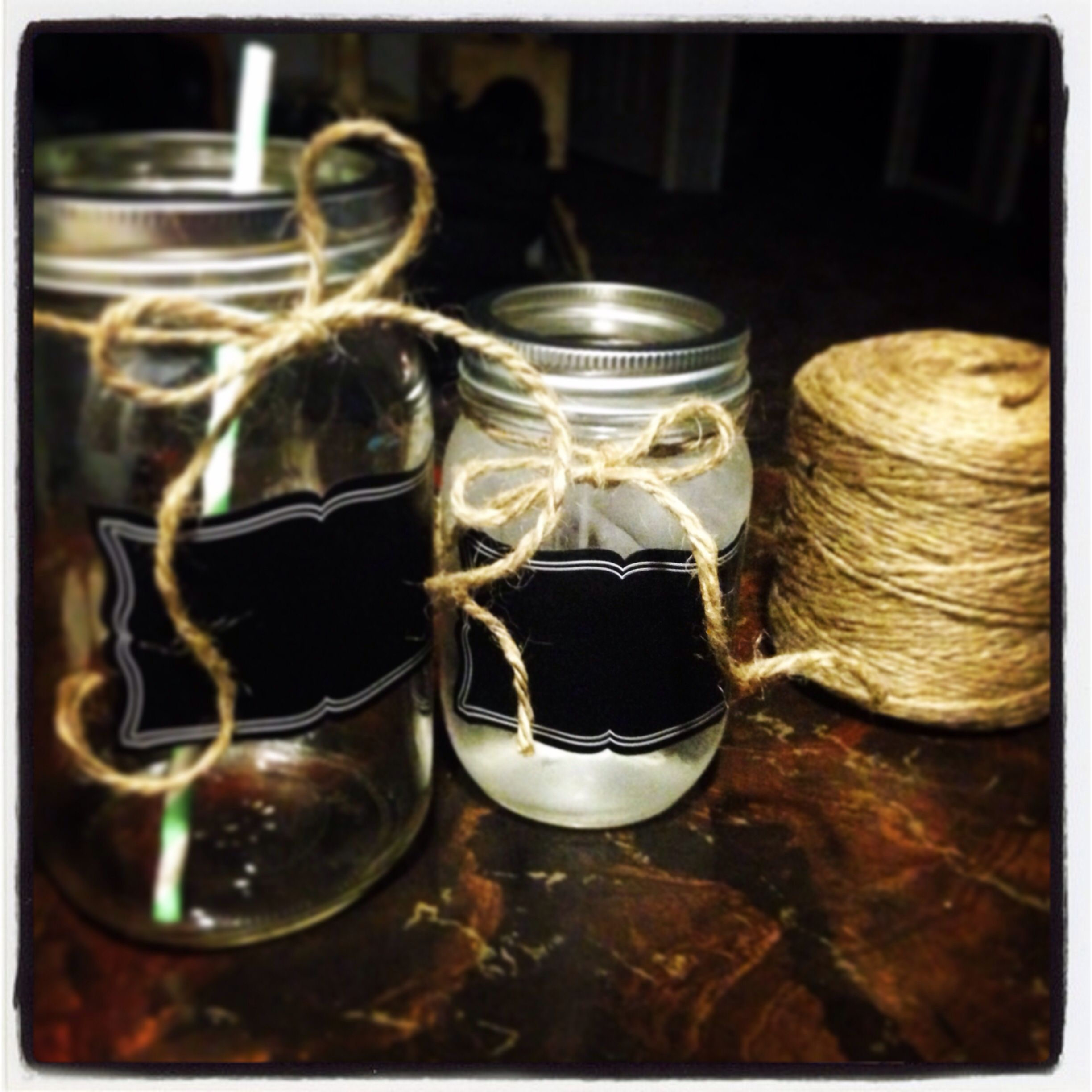 Test run... My jars for the big day!! Straws on my colors!