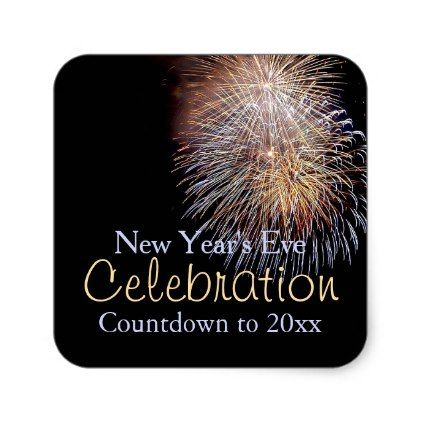New Year\u0027s Eve Fireworks Square Sticker Party gifts