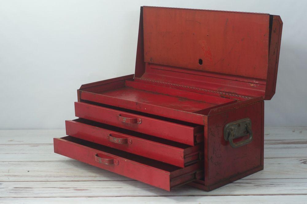 Vintage Toolbox Snap On 3 Drawer Top Box Vintage Red Tool Box Tool Chest Tool Chest Tool Box Vintage Tools