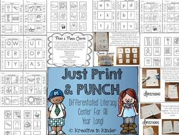 Print & Punch! A Year Long Literacy Center! Using a hole punch is so good for strengthening little hand muscles & developing fine motor skills. There are four pages per set (so each focus could last up to four weeks). This center is differentiated and includes: beginning/middle/ending sounds, capital/lowercase matching, blends, and beginning/ending digraphs. $