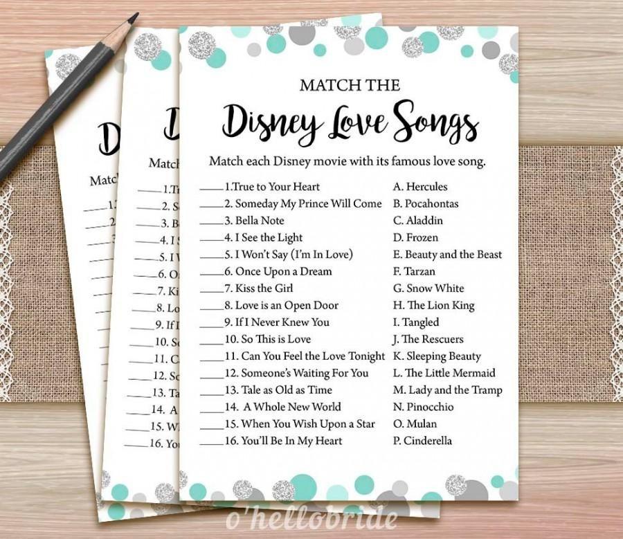 Disney Love Songs Bridal Shower Game