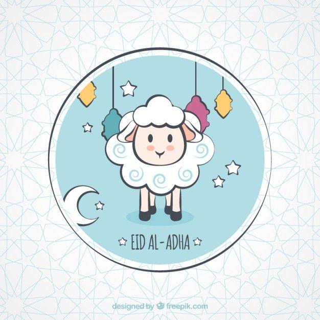 Nice Background Of Hand Drawn Party Lamb Eid Stickers Eid Mubarak Stickers Diy Eid Cards