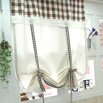 шторы для кухни в клетку фото