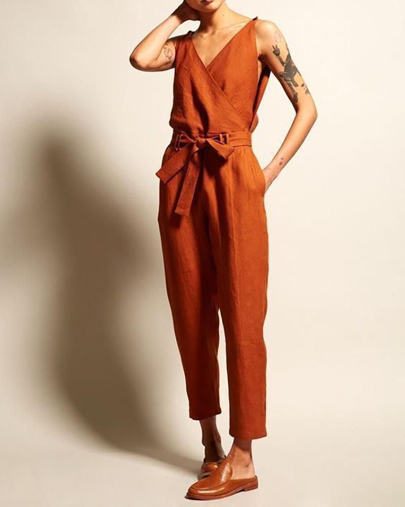 V-Neck High Waist Belt Casual Jumpsuit #casualjumpsuit