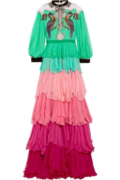 6524aff7 GUCCI Velvet-trimmed embellished tiered silk-chiffon gown. #gucci #cloth # dresses