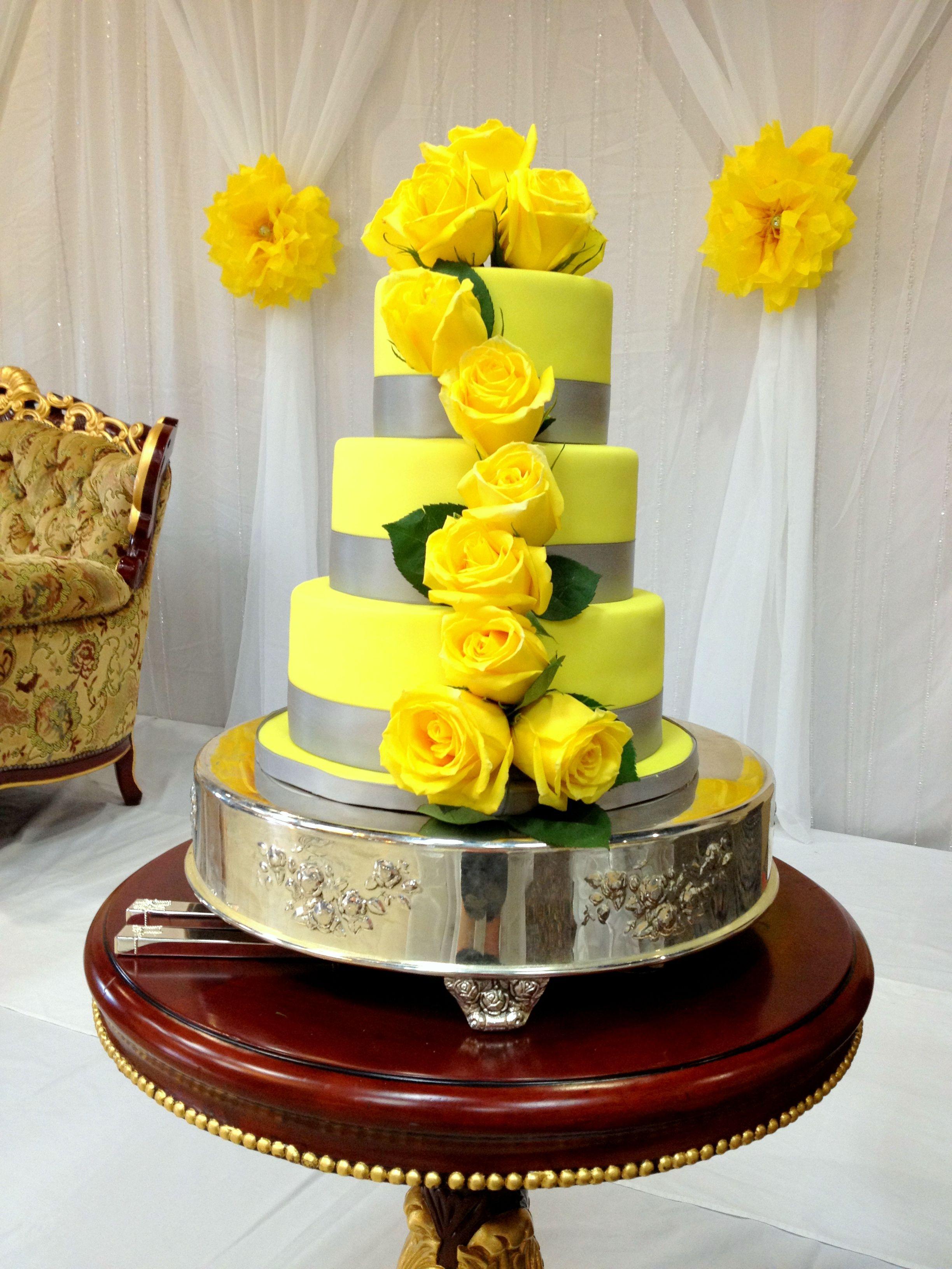 canary yellow and gray wedding cake wedding cakes pinterest