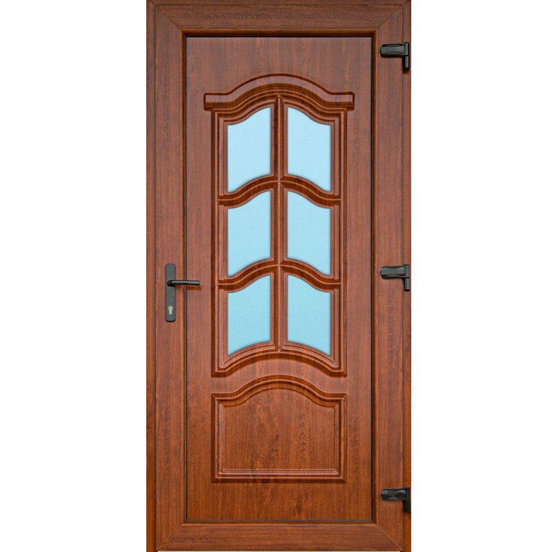 Corsican golden oak plastic front door