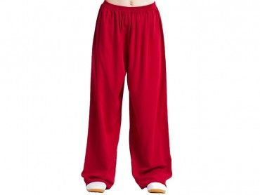 47b9fcf0a Tai Chi Pants Cotton with Silk for Men and Women Red | feiyue shoes ...