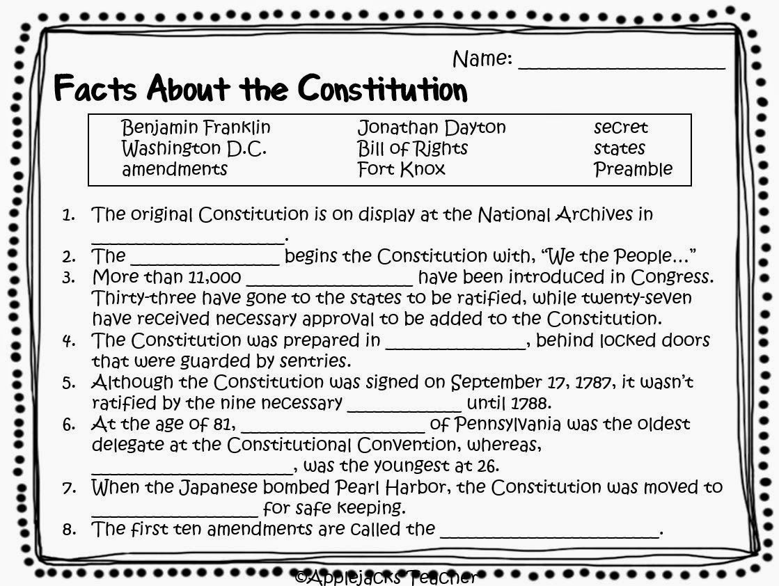 12 Images Of Constitution Worksheets For 5th Grade In