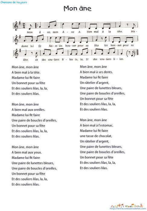 Imprimer le texte de la chanson chant comptine - Feuille de musique a imprimer ...