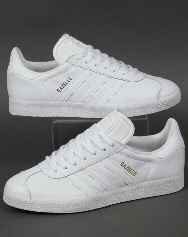 Adidas Leather, Gazelle, White, Trainers, Stripes, Og | Adidas ...