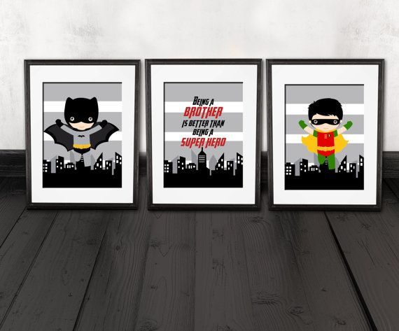 Batman and robin brother quote wall decor kids room for Kids batman room