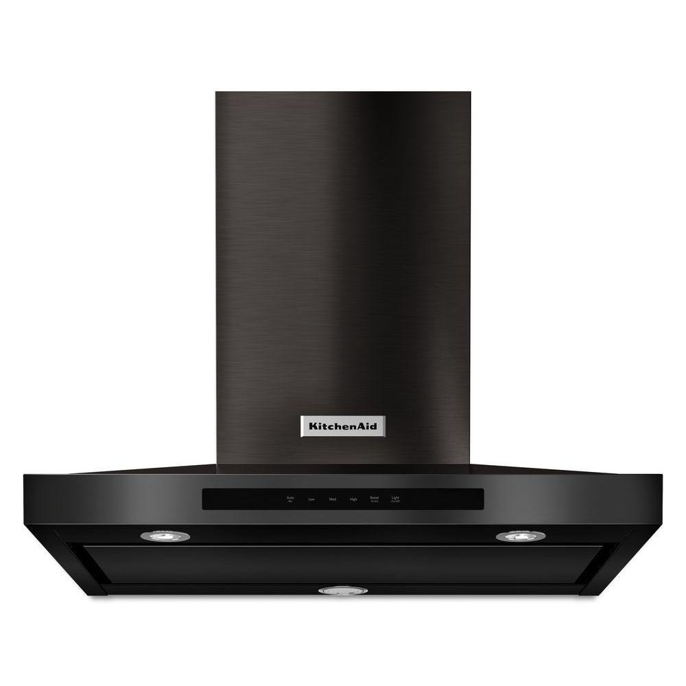 Kitchenaid 30 In Wall Mount Canopy Range Hood In Black Stainless Kvwb600dbs The Home Depot Led Task Light Range Hood Kitchen Aid