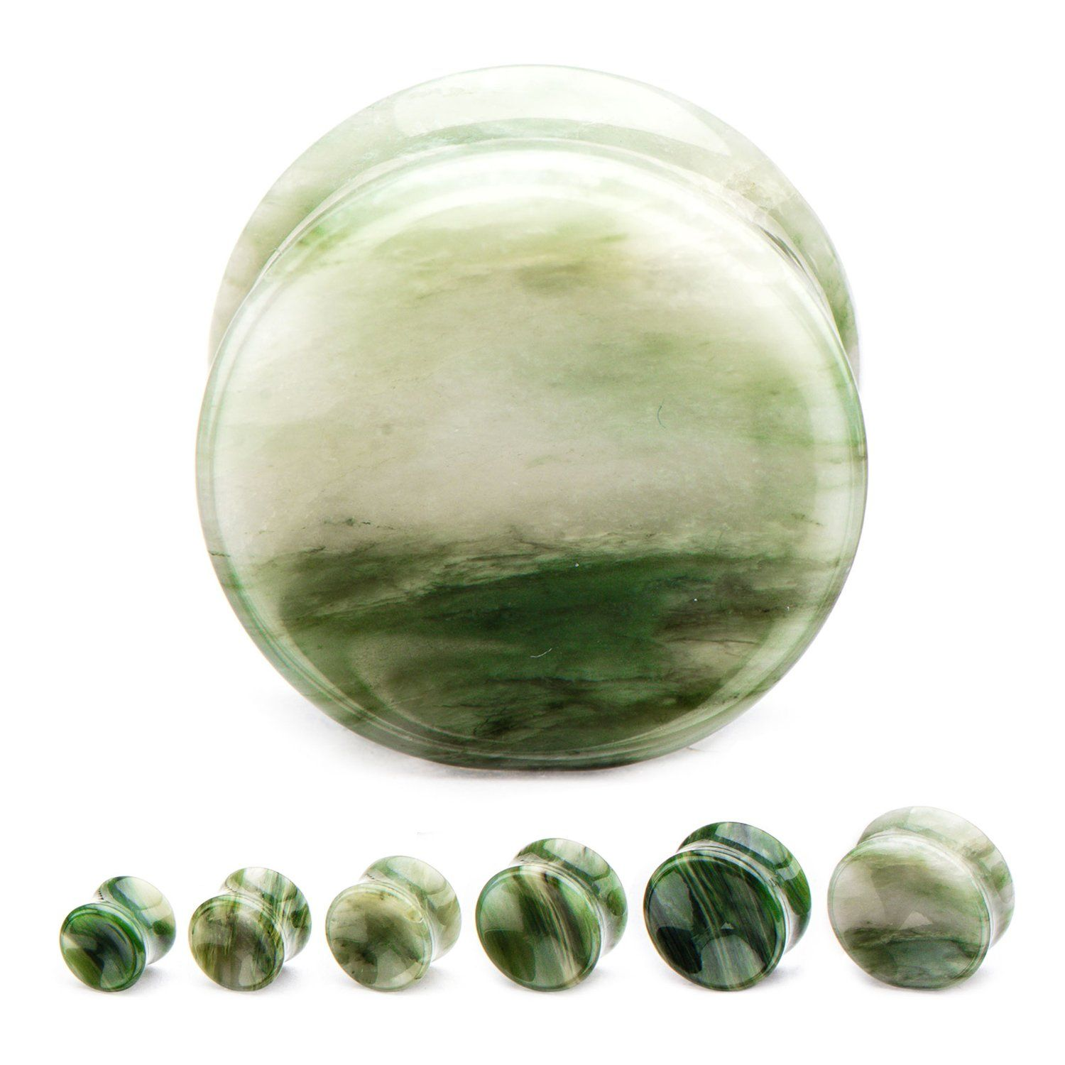 Fern Green Jasper Stone Plugs, concaved finish  Muted Forest