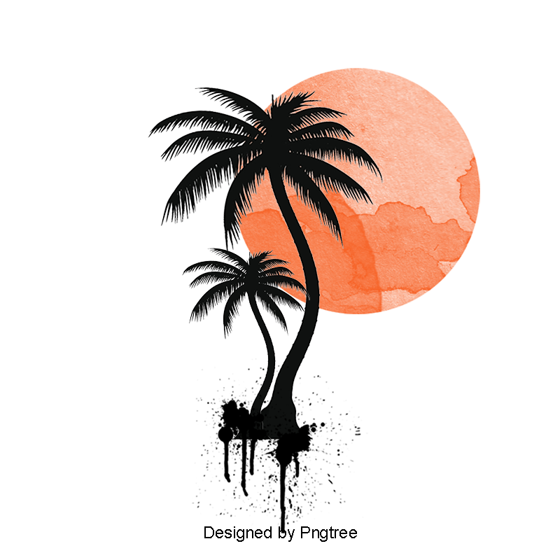 Illustration Of Palm Trees Png Free Download Vector Material