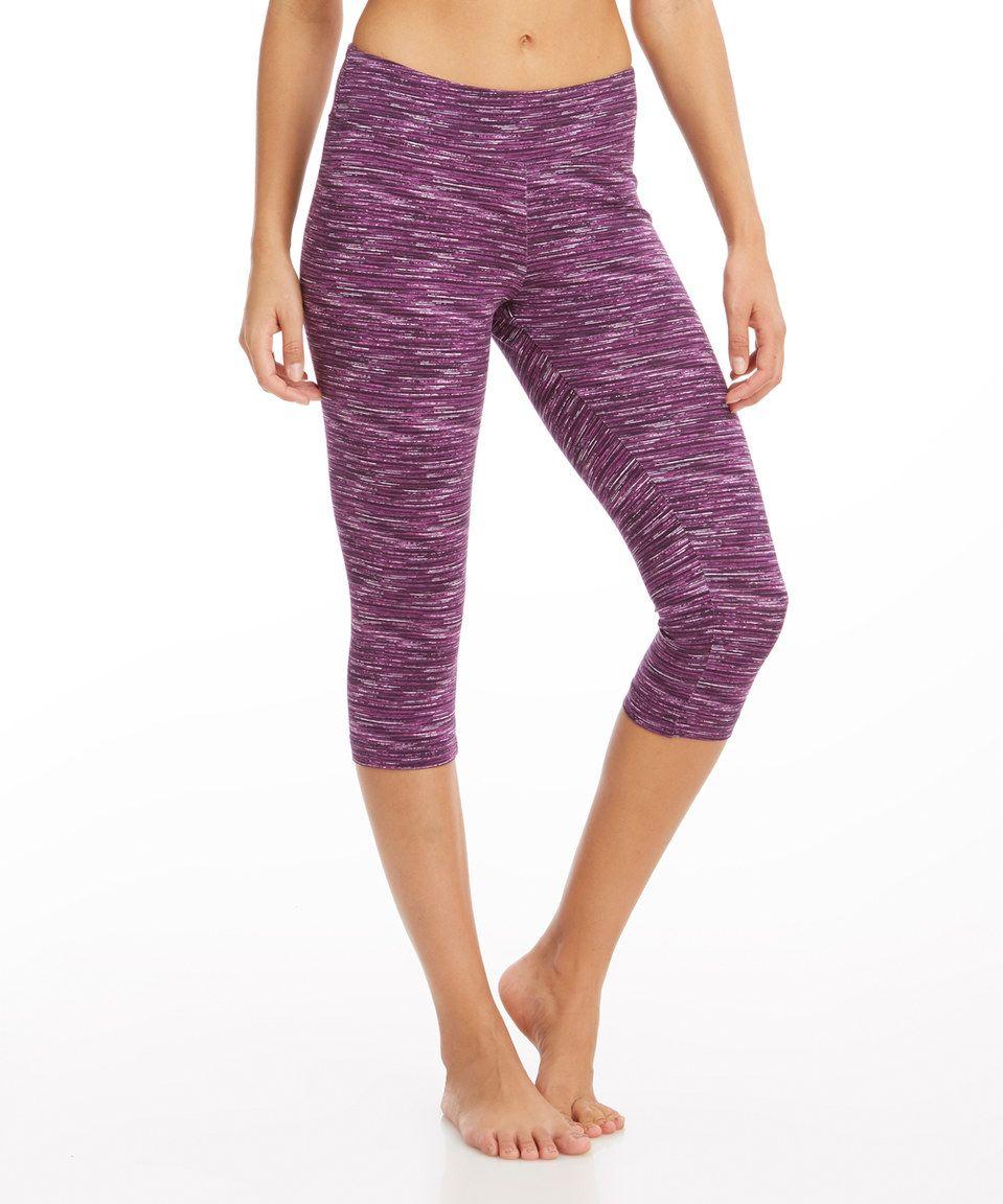 7fadda3d0972ef Balance Collection Shadow Purple Capri Leggings by Balance Collection  #zulilyfinds