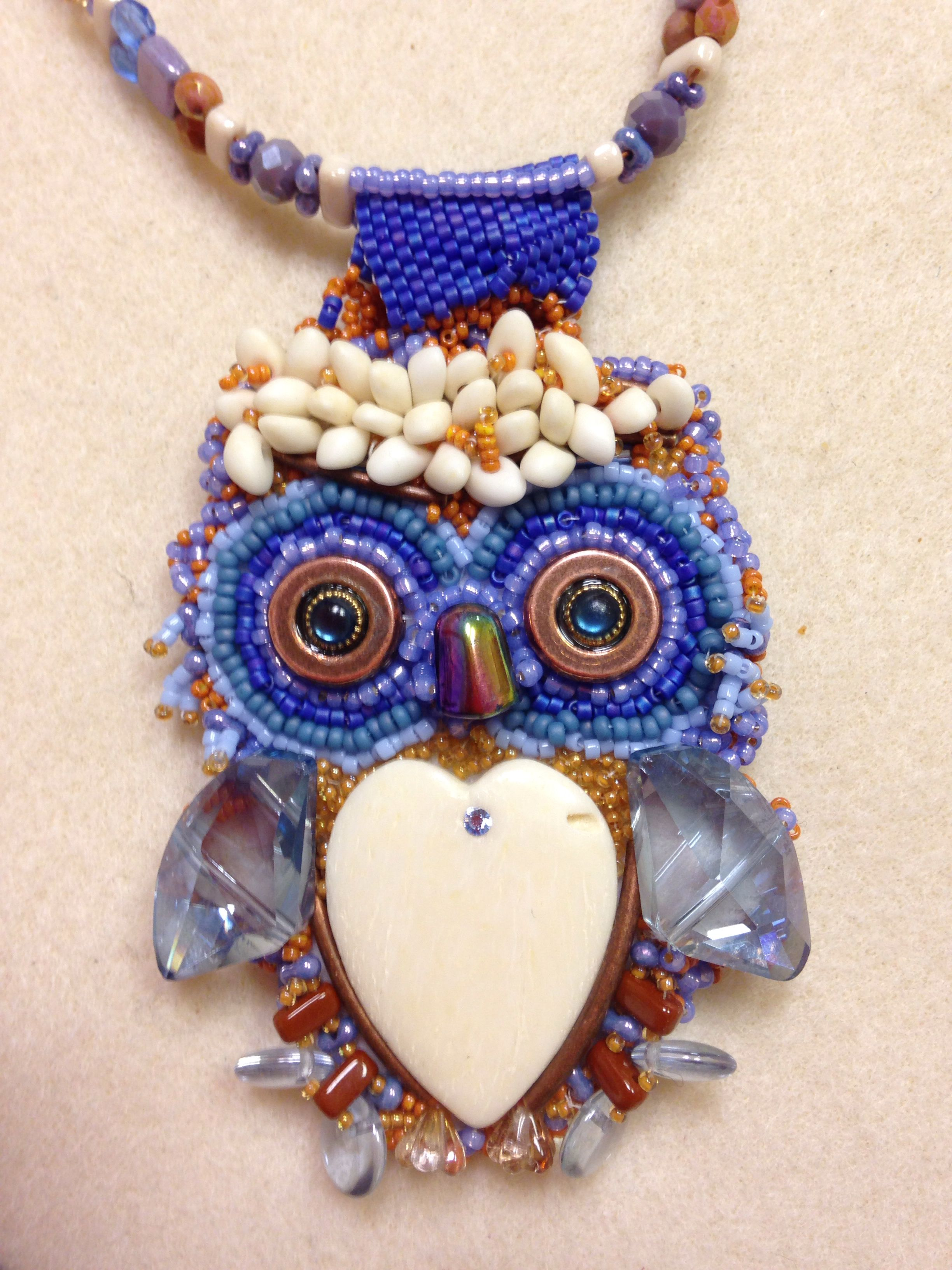 Bead embroidery owl necklace by kathleen breeding